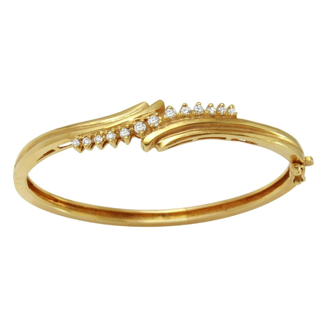 14KT Yellow Gold Diamond Bangle Bracelet - 3