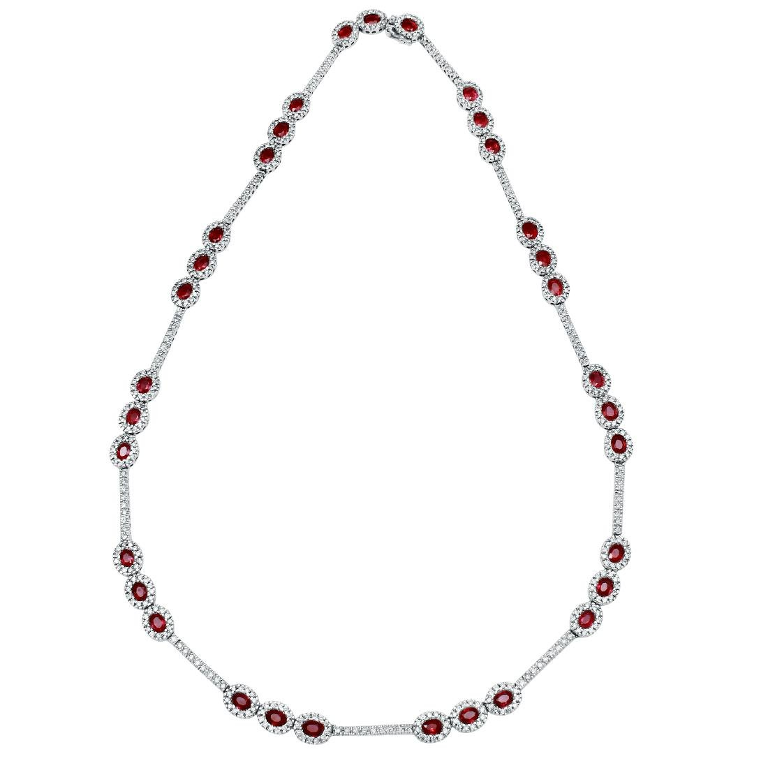 14KT White Gold Ruby Necklace