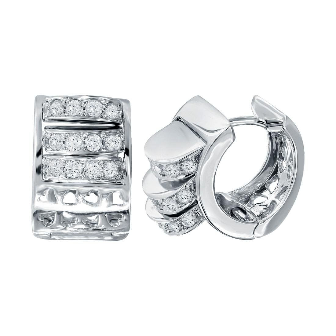 18KT White Gold Diamond Huggie Hoops