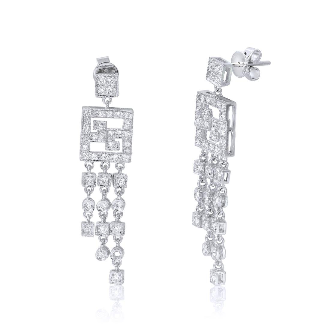 14KT White Gold Diamond Chandelier Earrings