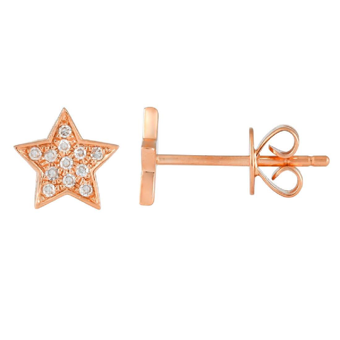 14KT Rose Gold Diamond Earrings - 2