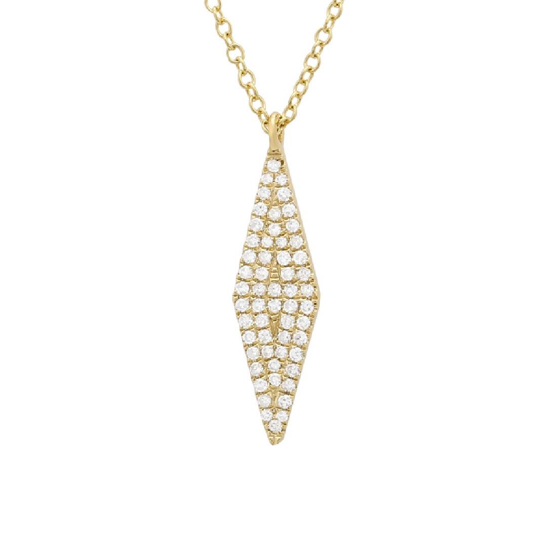 14KT Yellow Gold Diamond Pendant With Chain - 2