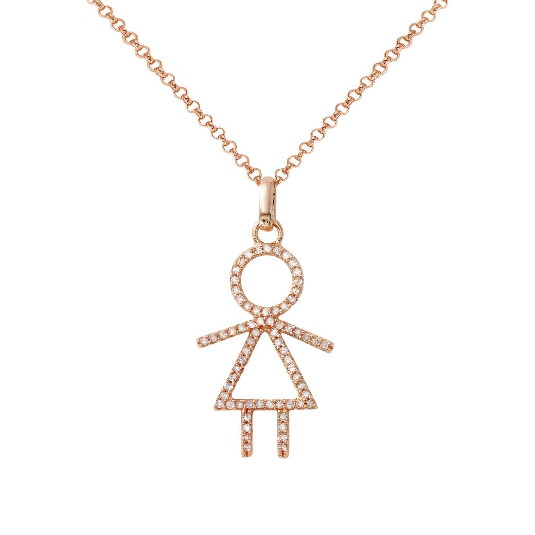 14KT Rose Gold Ladies Slider with Chain - 2