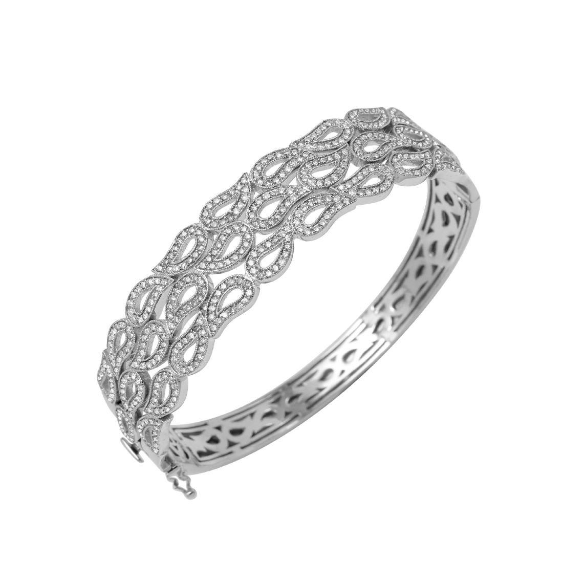 14KT White Gold Diamond Bangle Bracelet - 2