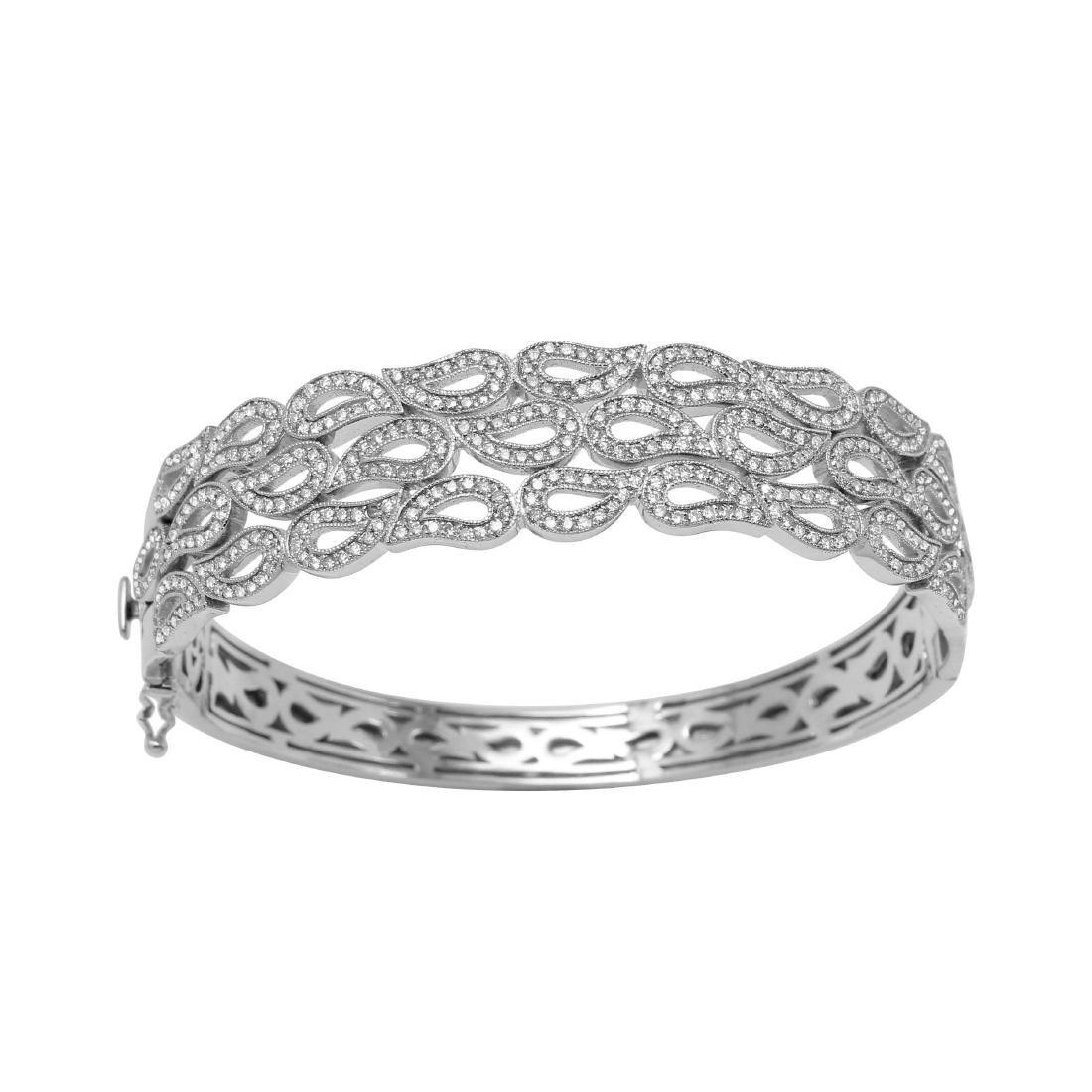 14KT White Gold Diamond Bangle Bracelet - 3