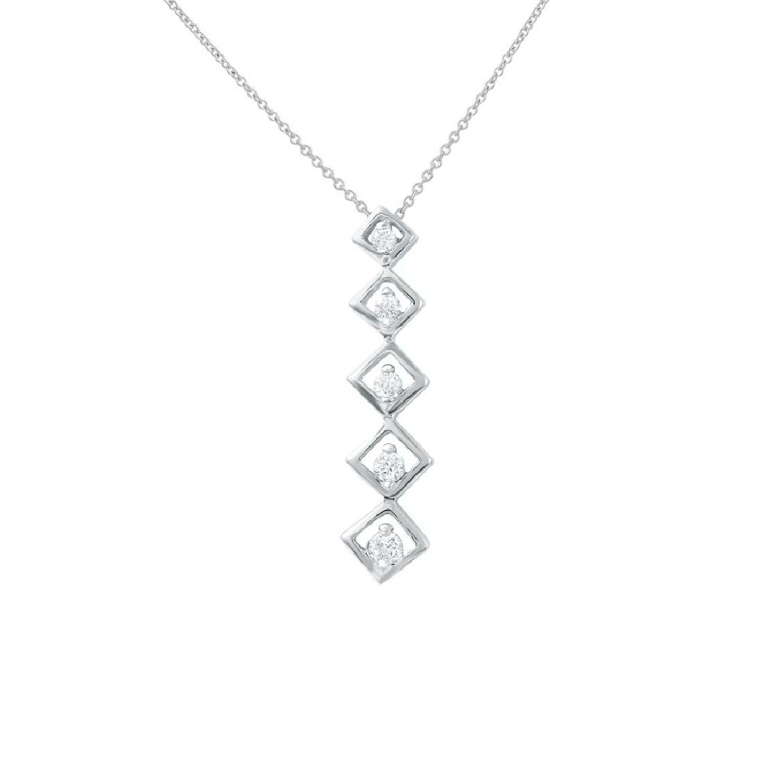 14KT White Gold Ladies Diamond Slider with Chain