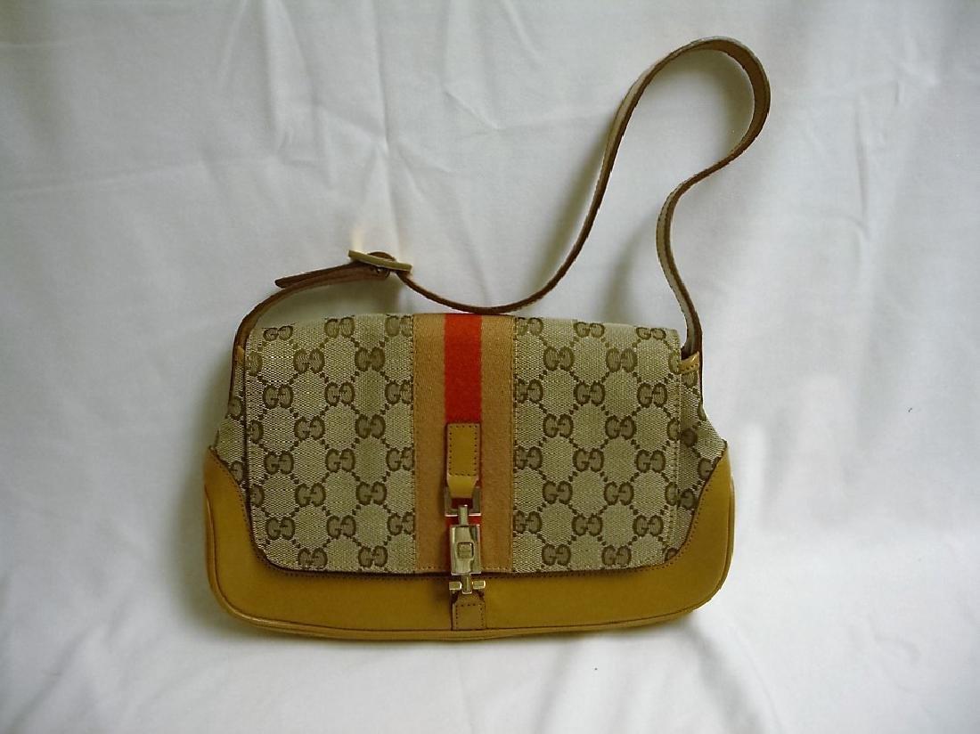 GUCCI Jackie O  Canvas Leather Shoulder Bag  New