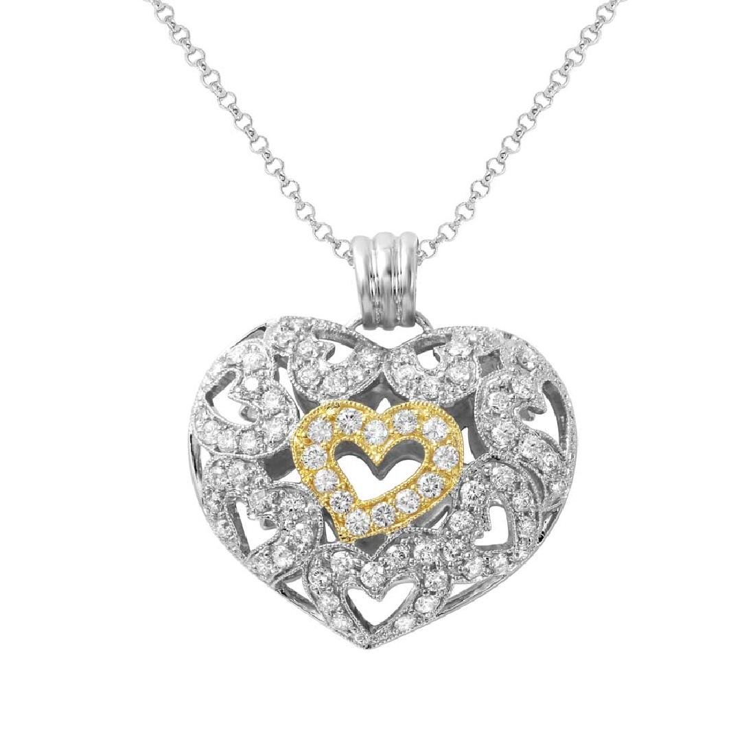14KT Two Tone Gold  Ladies Diamond Slider with Chain