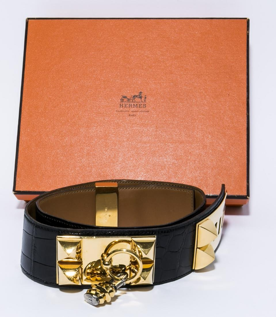 Authentic-HERMES Collier De Chien Alligator/Croc