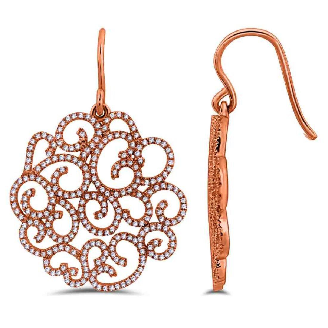 14KT Rose Gold Ladies Diamond Earrings