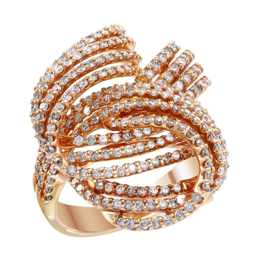 14KT Rose Gold 1.58ctw Diamond Knot Ring Size 7 L1995