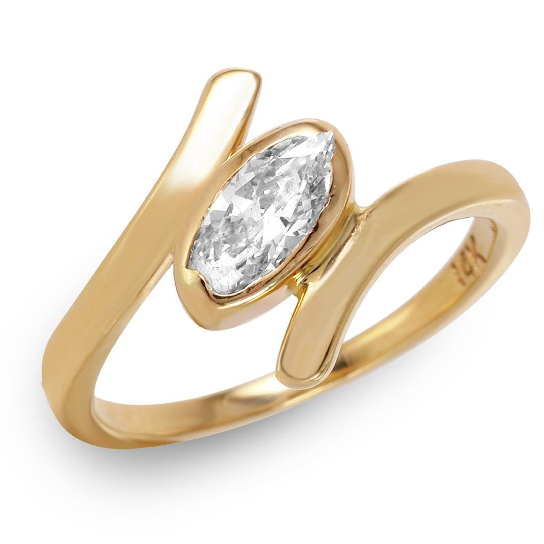 14KT Yellow Gold 0.40ctw Diamond Solitaire Ring Size