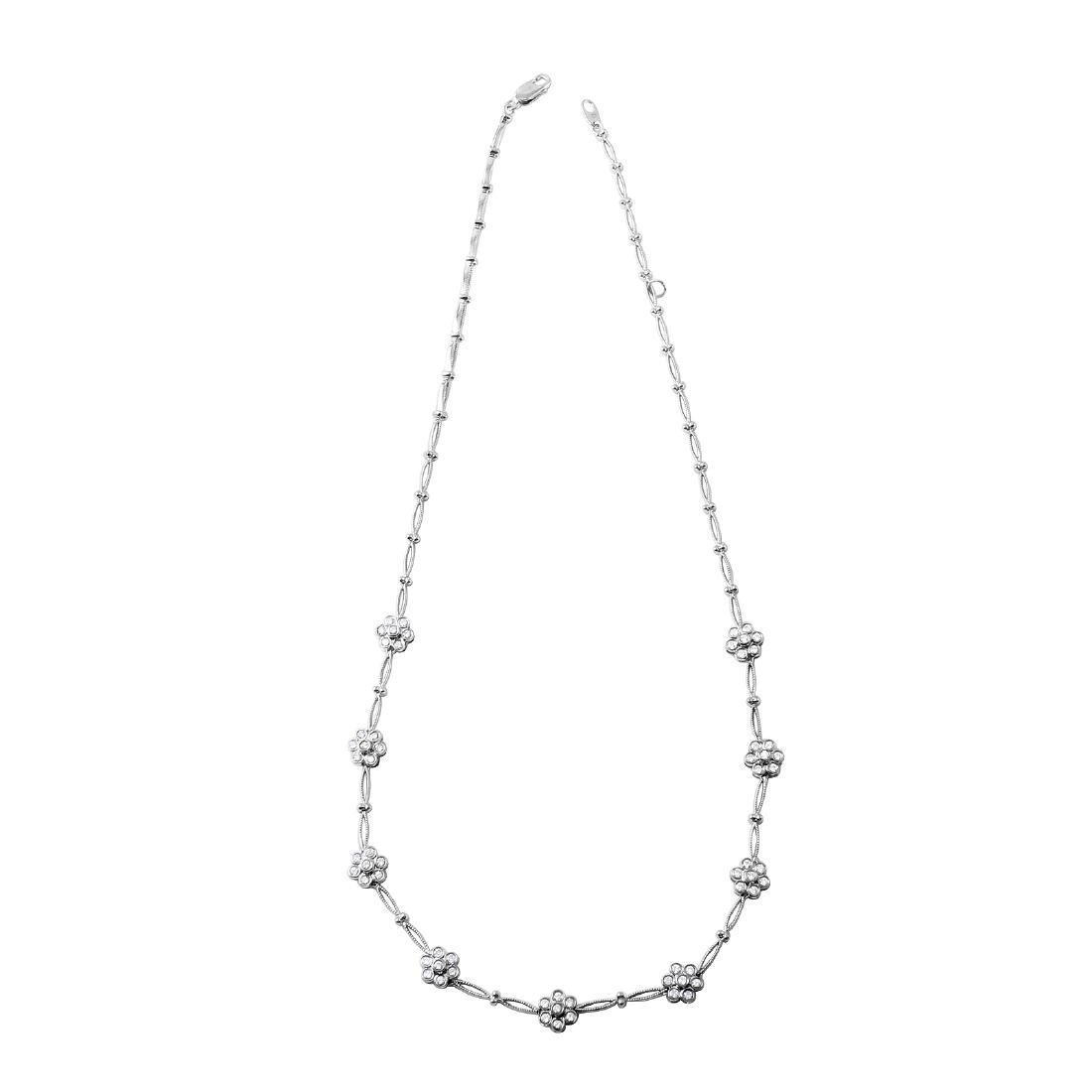 "14KT White Gold 1.01ctw Diamond Necklace Length 17"""