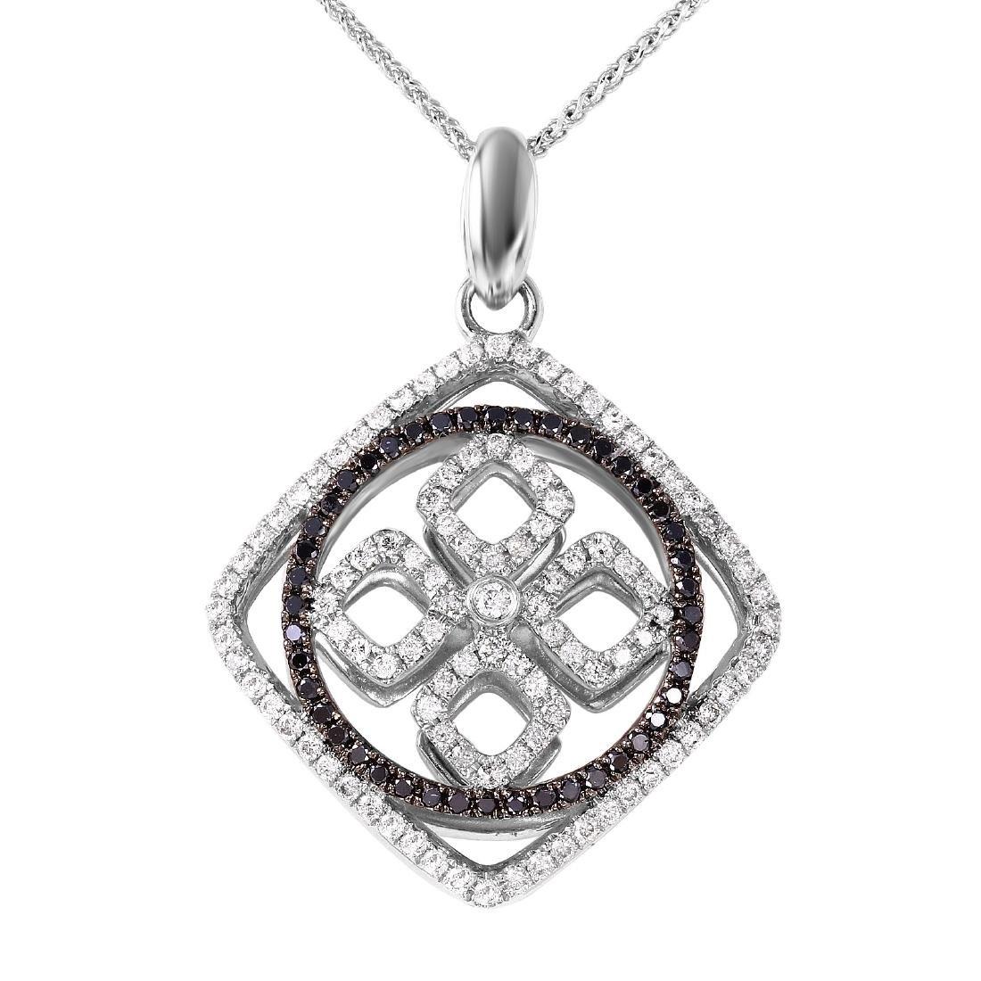 14KT White Gold 1.01ctw Diamond Pendant Chain Length