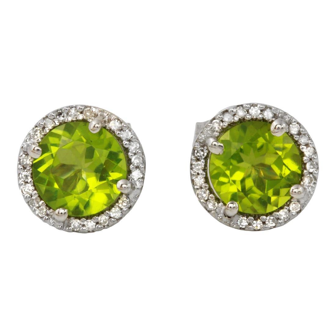 14KT White Gold 3.10ctw Peridot and Diamond Earrings