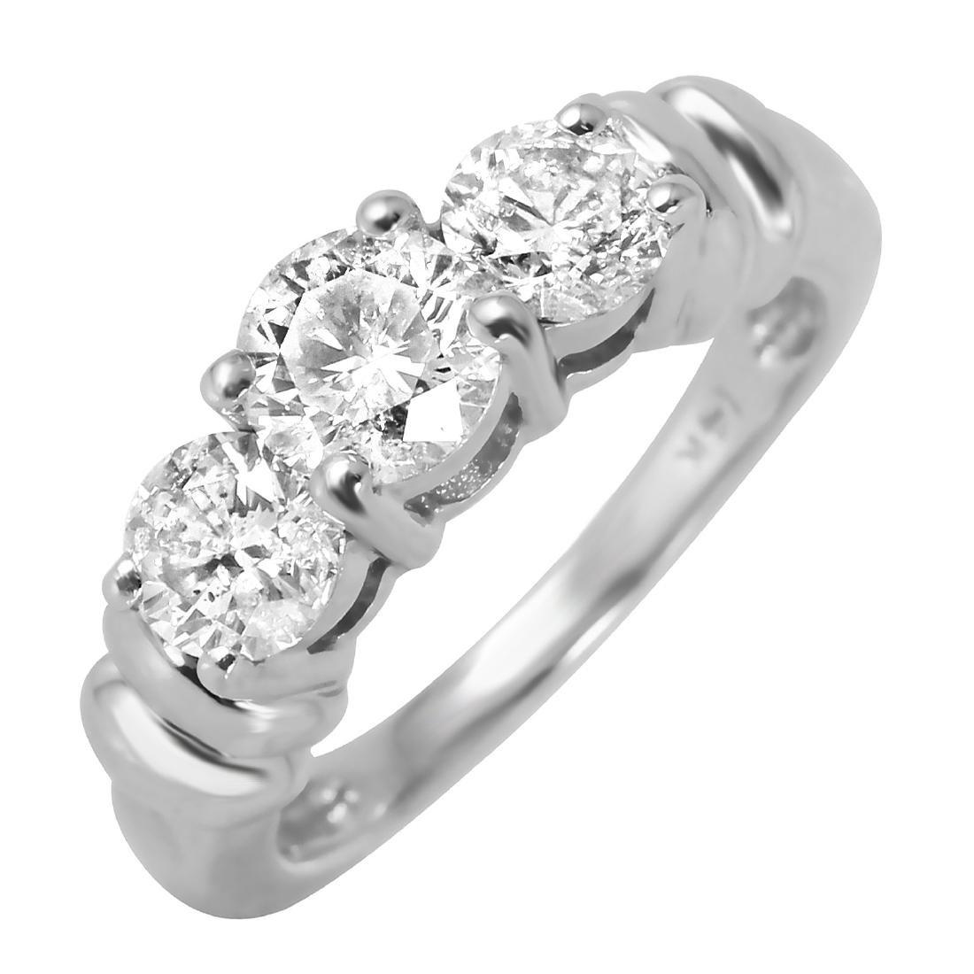 14KT White Gold 1.32ctw Diamond Three Stone Engagement