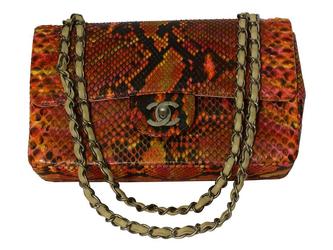 CHANEL Multi-Color Python Double Flap Handbag L592