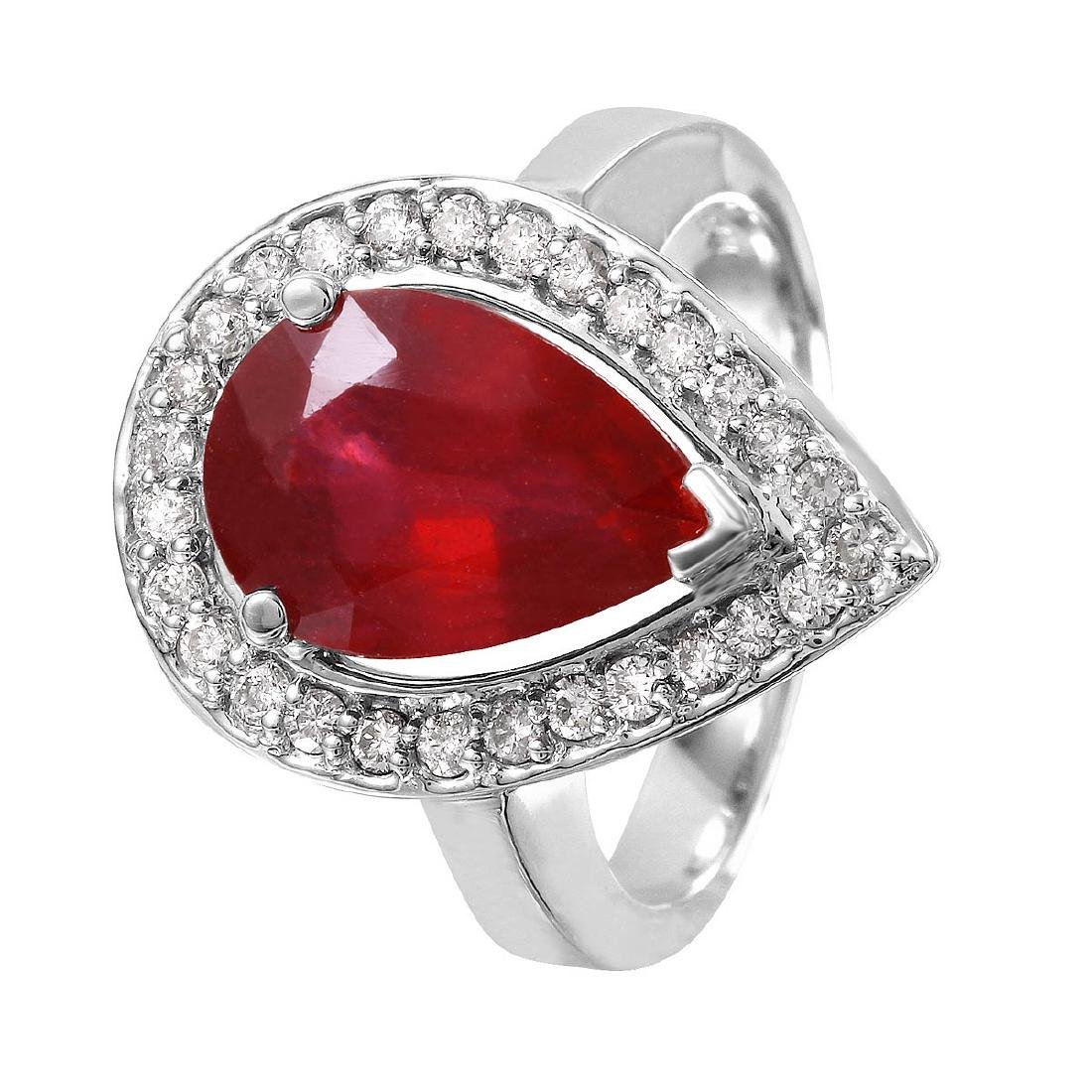 14KT White Gold 5.14ctw Ruby Diamond Cocktail Ring Size