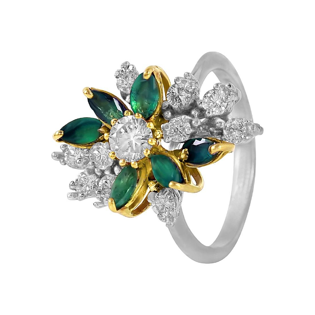 14KT Two Tone Gold Emerald and Diamond Cocktail Ring