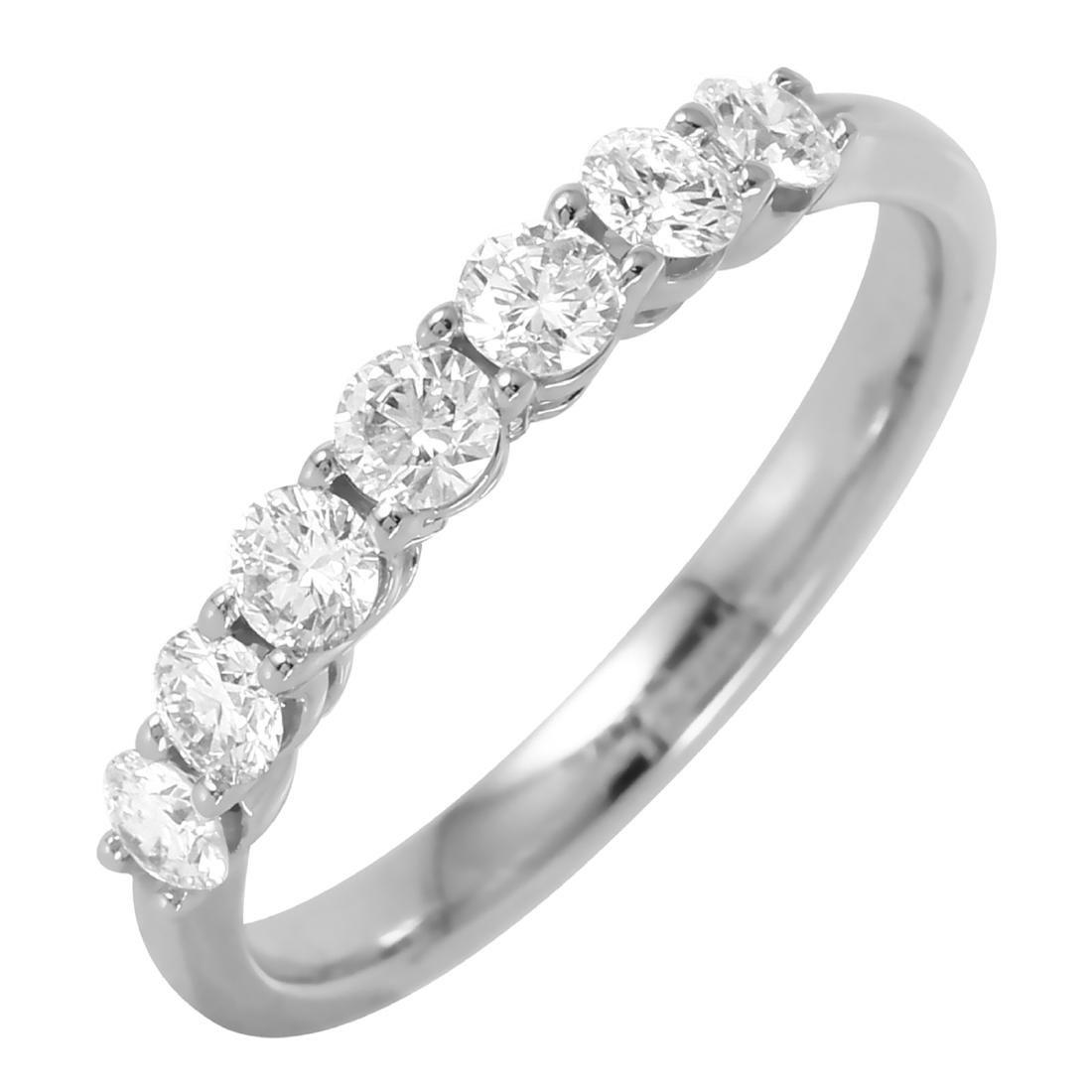 14KT White Gold 0.7ctw Diamond Wedding Band Ring Size