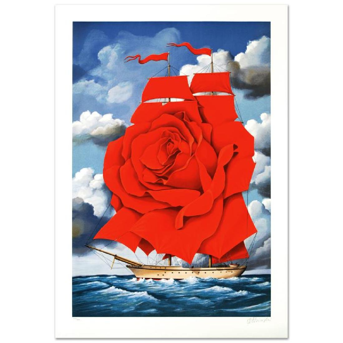 Red Rose Ship Limited Edition Hand Pulled Original