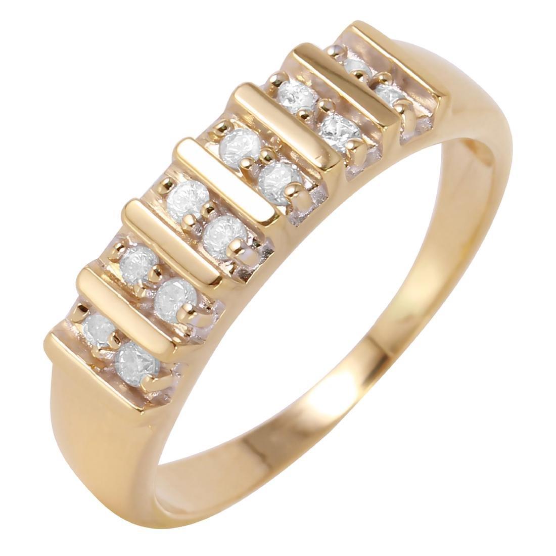 14KT Yellow Gold 0.22ctw Diamond Wedding Band Ring Size