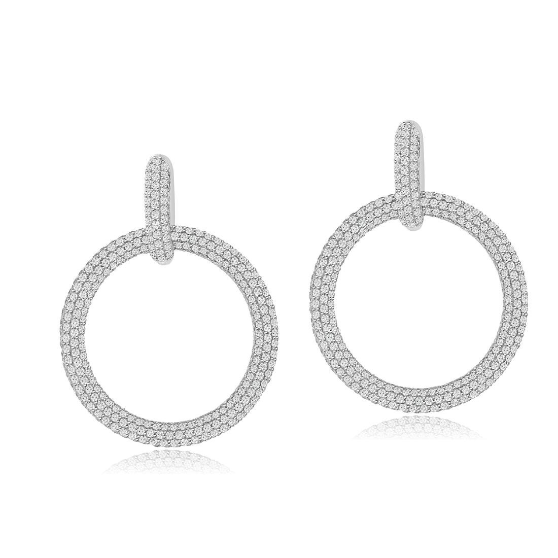 Sterling Silver Rhodium Plated micro pave CZ Dangle
