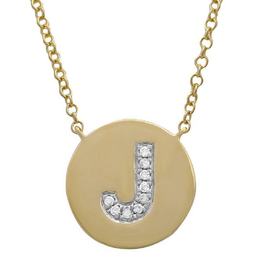 "14KT Yellow Gold 0.03ctw Diamond Necklace Length 16"""