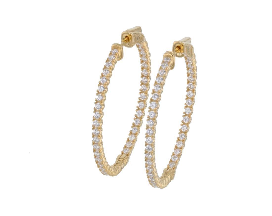 Sterling Silver Gold Plated CZ Hoop Earrings L20772
