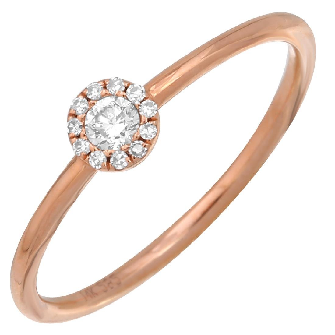 14KT Rose Gold 0.10ctw Women's Diamond Ring Size 6.5