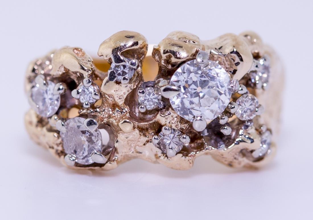 14KT Yellow Gold 1.01ctw Diamond Ring Size 7 L6623