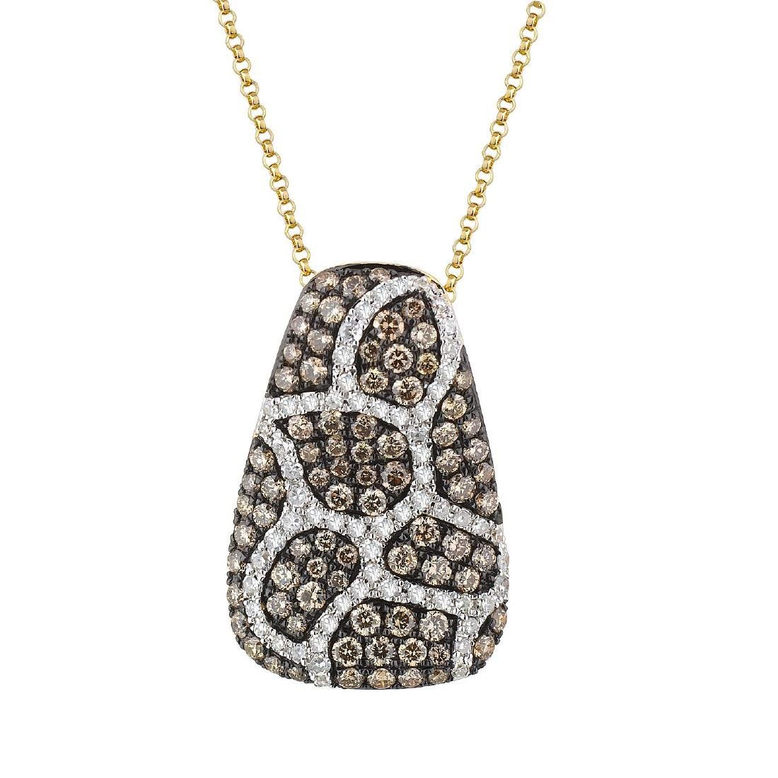"""14KT Gold 1.24ctw Diamond Pendant With Chain Length 16"""""""