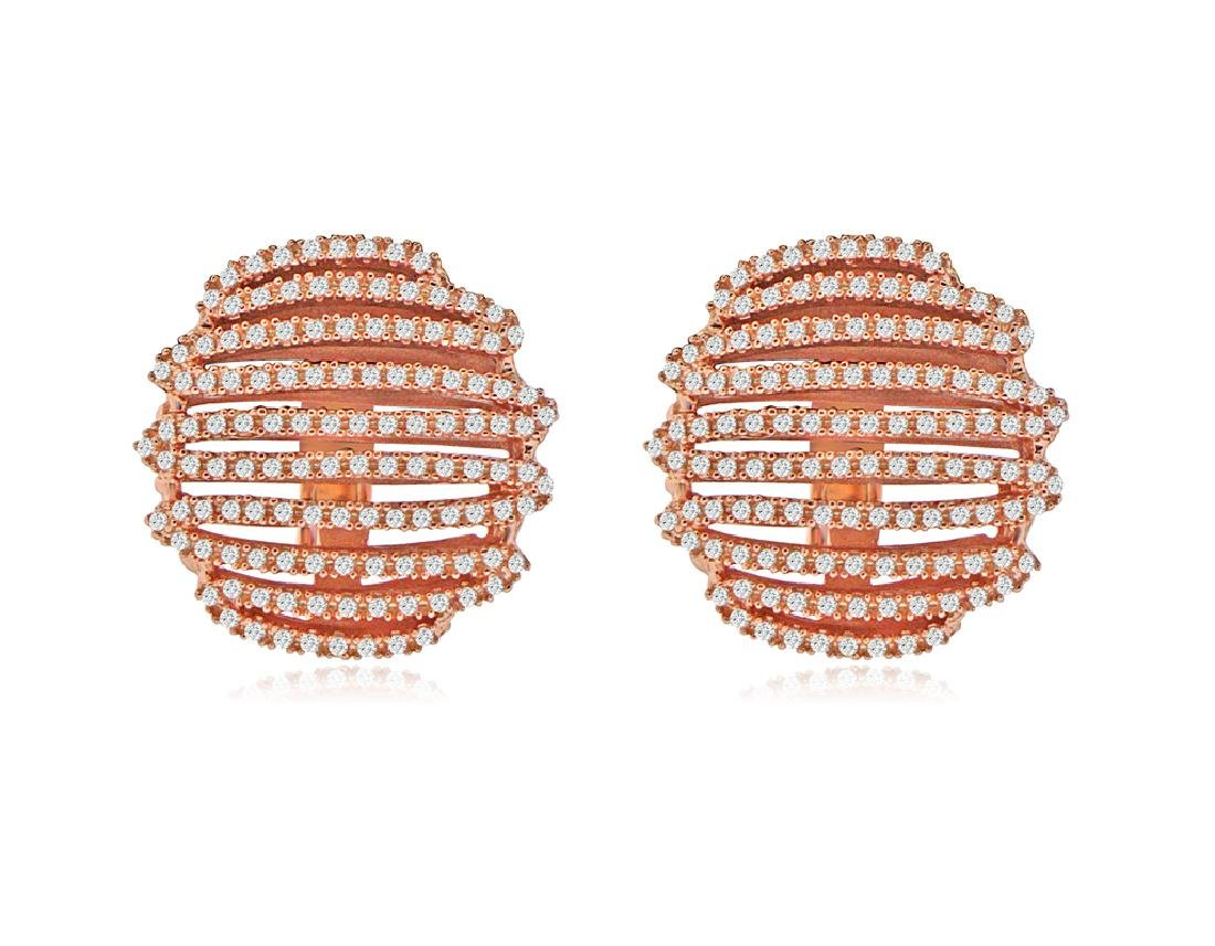 Sterling Silver Rose Gold Plated CZ Zig Zag Earrings