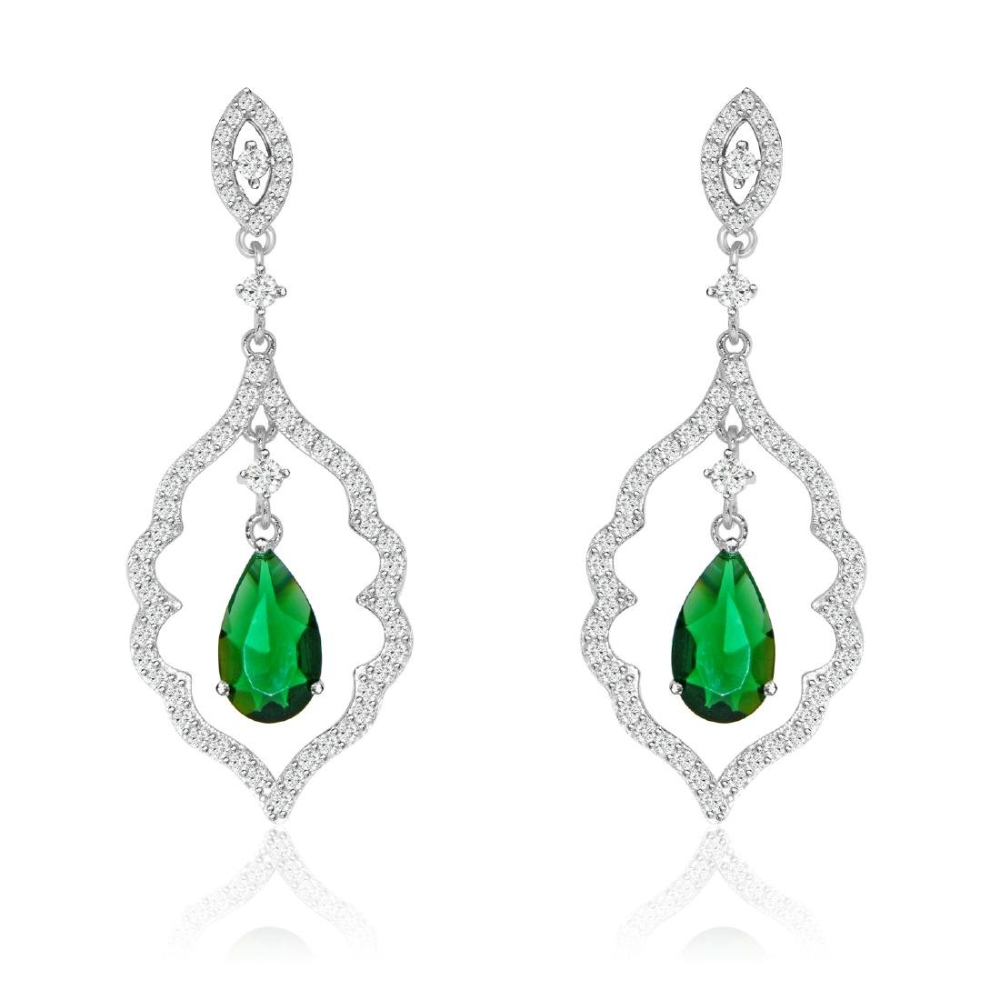Sterling Silver Rhodium Plated Simulated Emerald Green