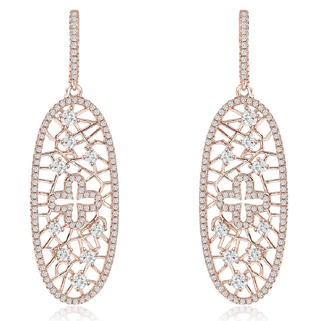 Sterling Silver Rose Gold Plated CZ Dangle Earrings