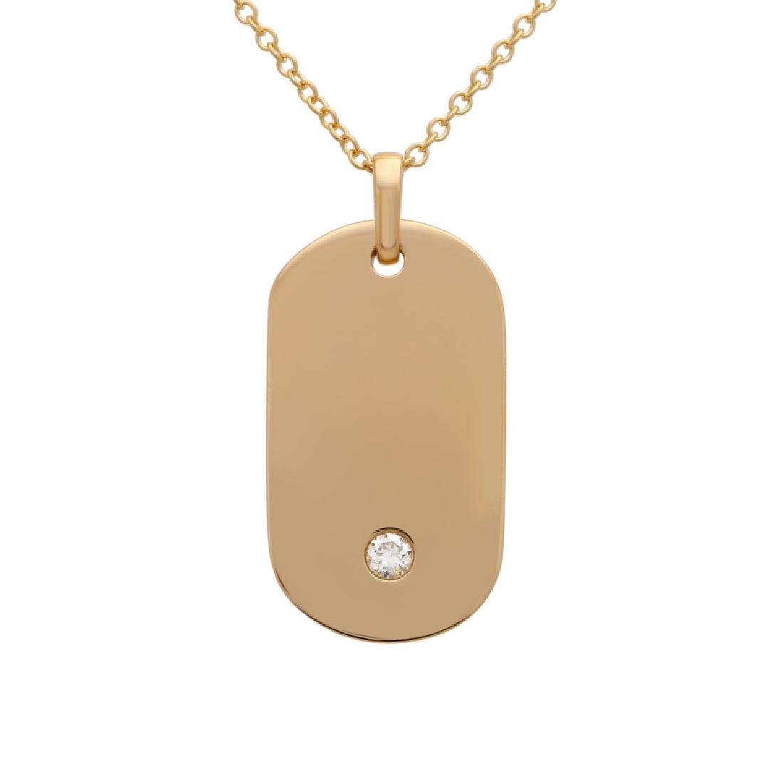 14KT Yellow Gold 0.05ctw Diamond Pendant With Chain