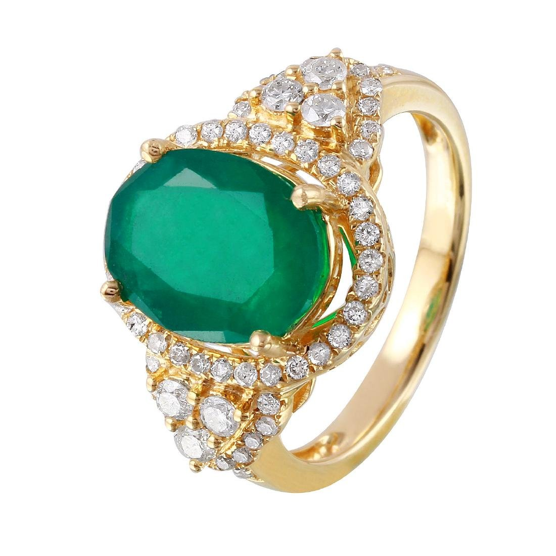 14KT Yellow Gold 3.83ctw Emerald Diamond Cocktail Ring
