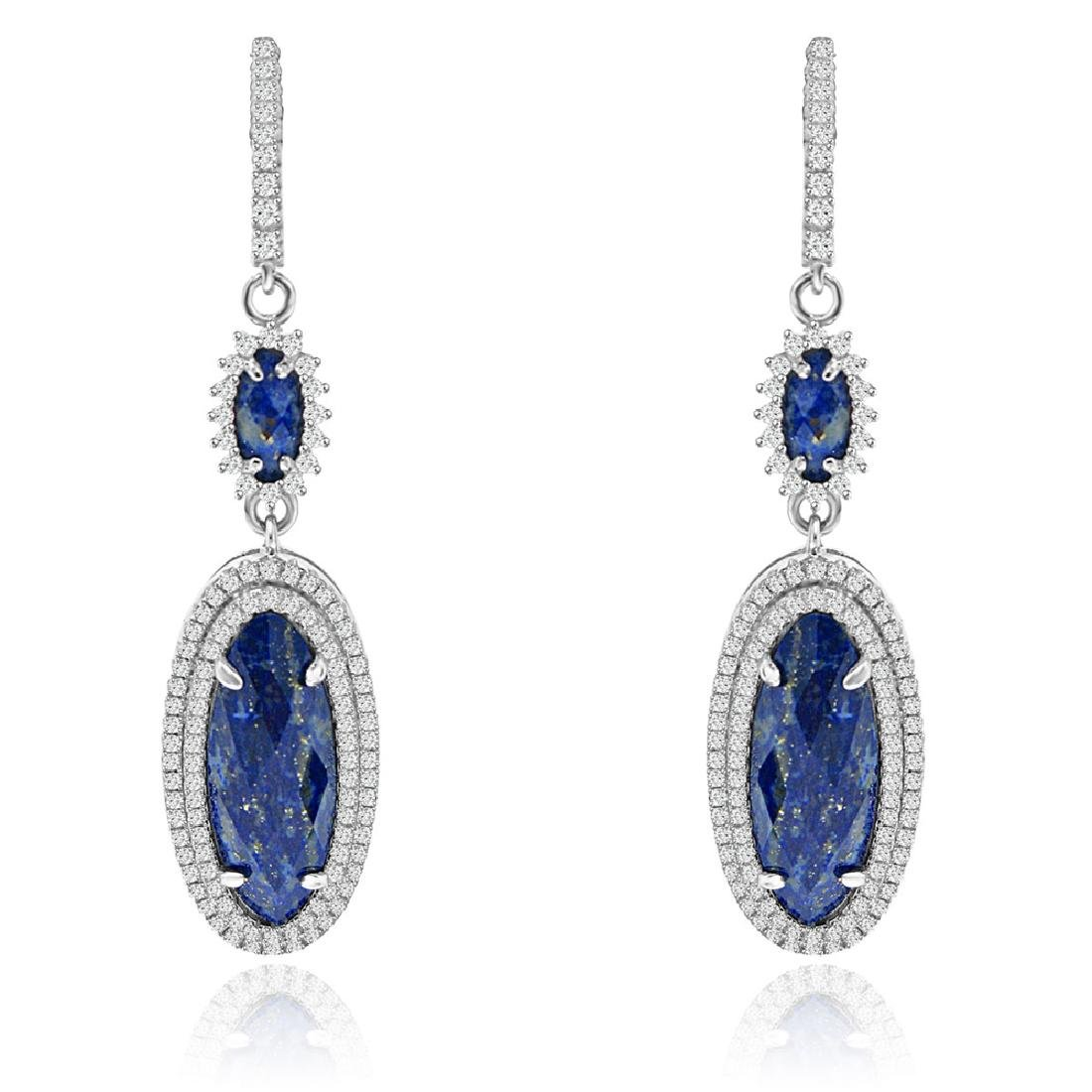 Sterling Silver Rhodium Plated Simulated Lapis Lazuli