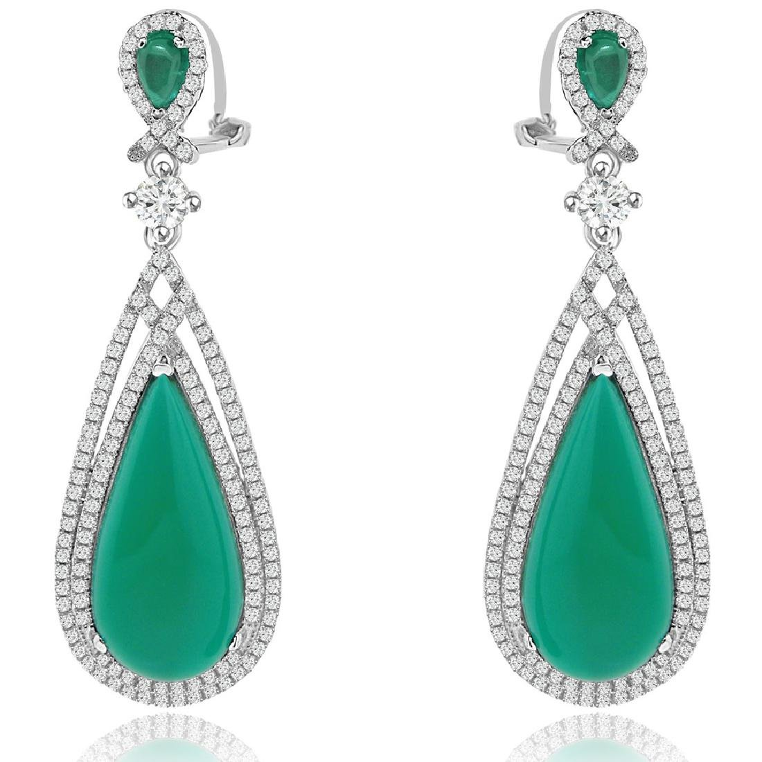 Sterling Silver Rhodium Plated Simulated Green Quartz