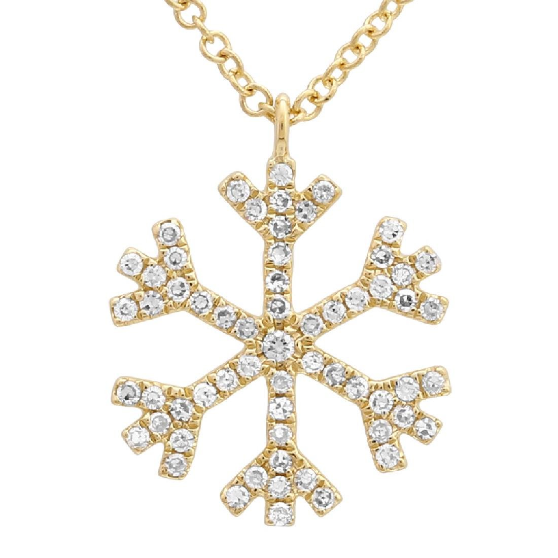 14KT Yellow Gold 0.17ctw Diamond Pendant With Chain
