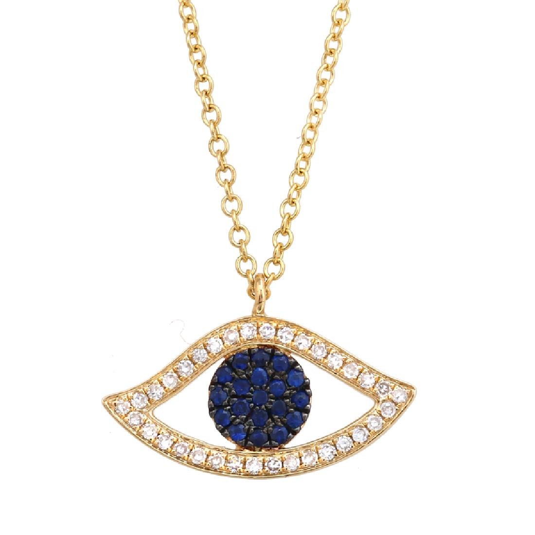 14KT Yellow Gold 0.22ctw Sapphire Pendant With Chain