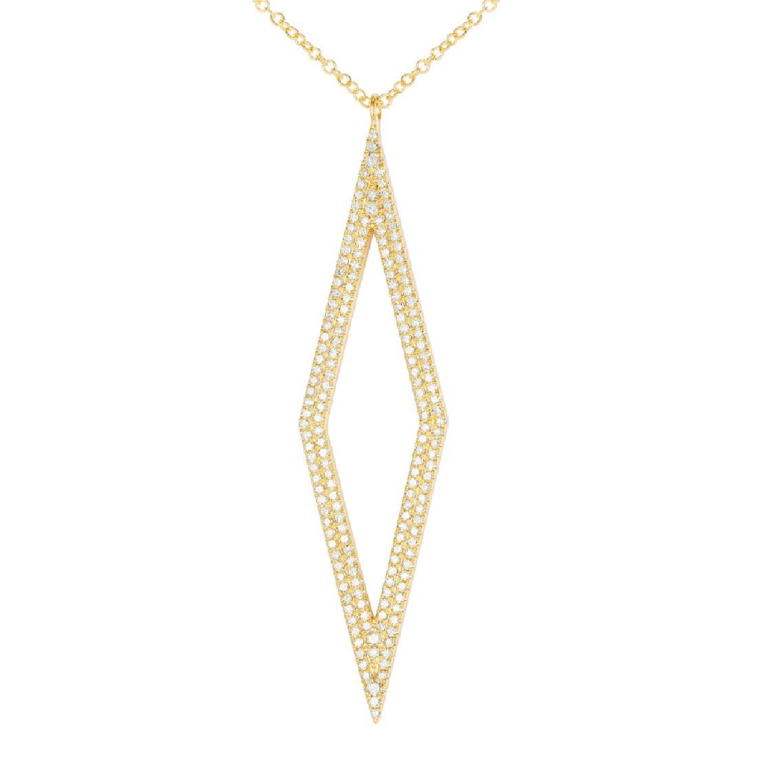 14KT Yellow Gold 0.44ctw Diamond Pendant With Chain