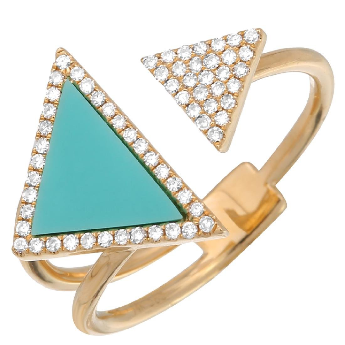 14KT Yellow Gold 0.77ctw Turquoise Diamond Ring Size