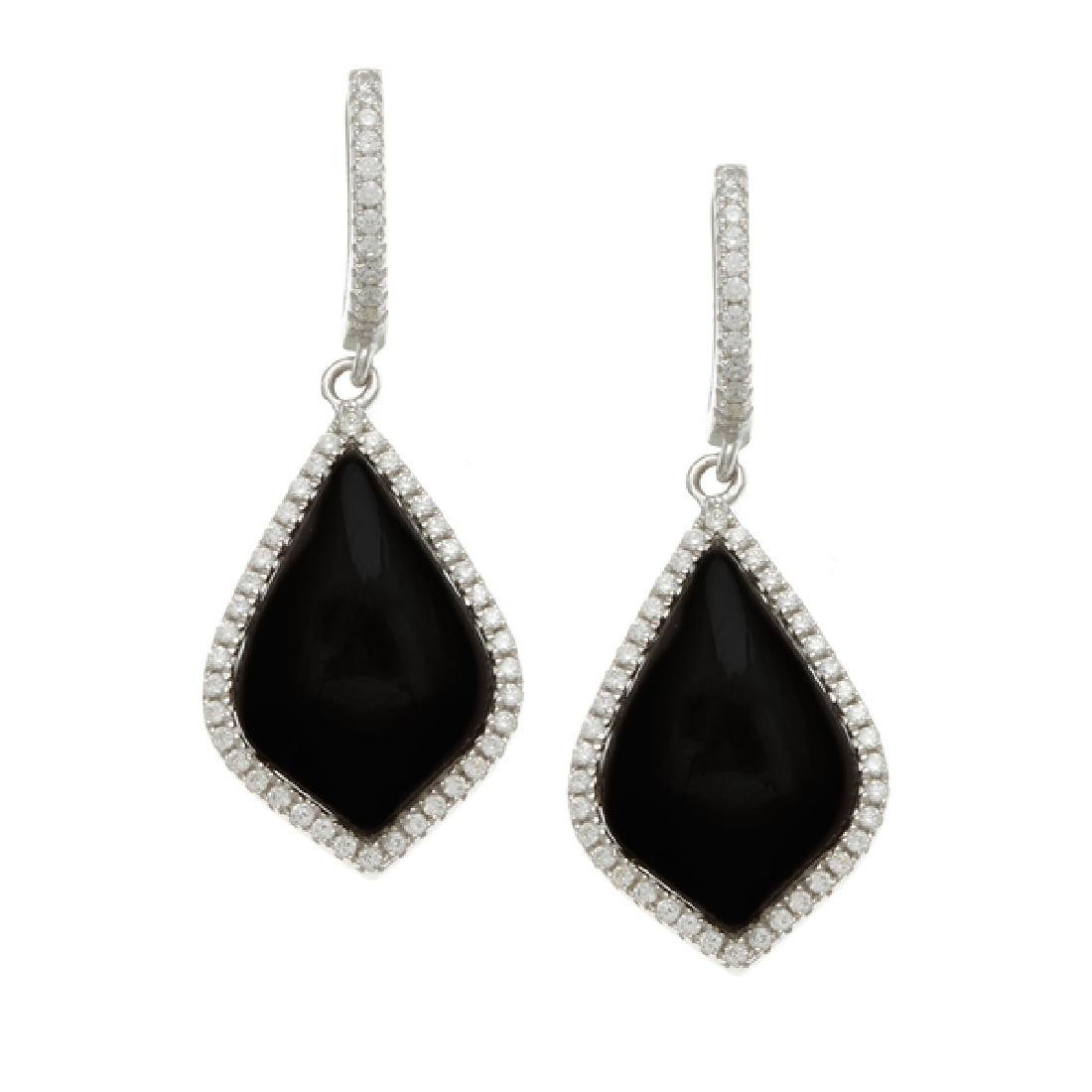 Sterling Silver Rhodium Plated Simulated Black Onyx CZ