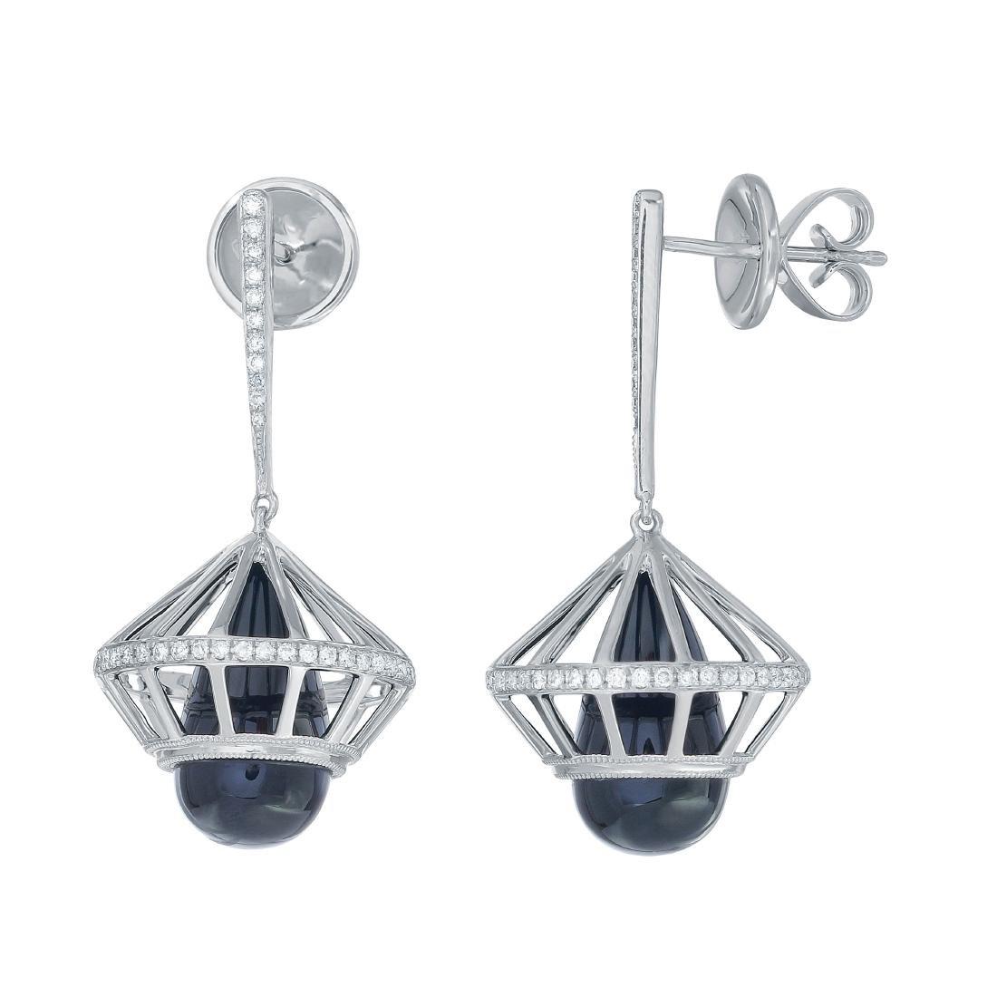 14KT White Gold 0.43ctw Diamond  Sapphire Dangle