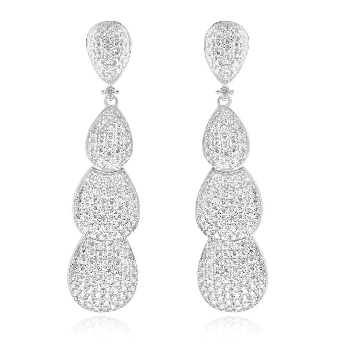 Sterling Silver Rhodium Plated CZ Dangle Earrings