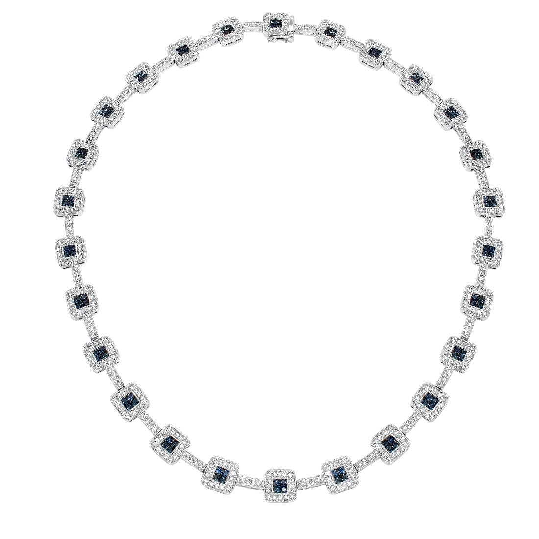 14KT White Gold 8.92ctw Diamond Sapphire Necklace