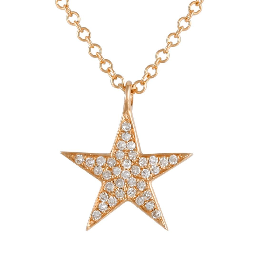 14KT Rose Gold 0.08ctw Diamond Pendant With Chain