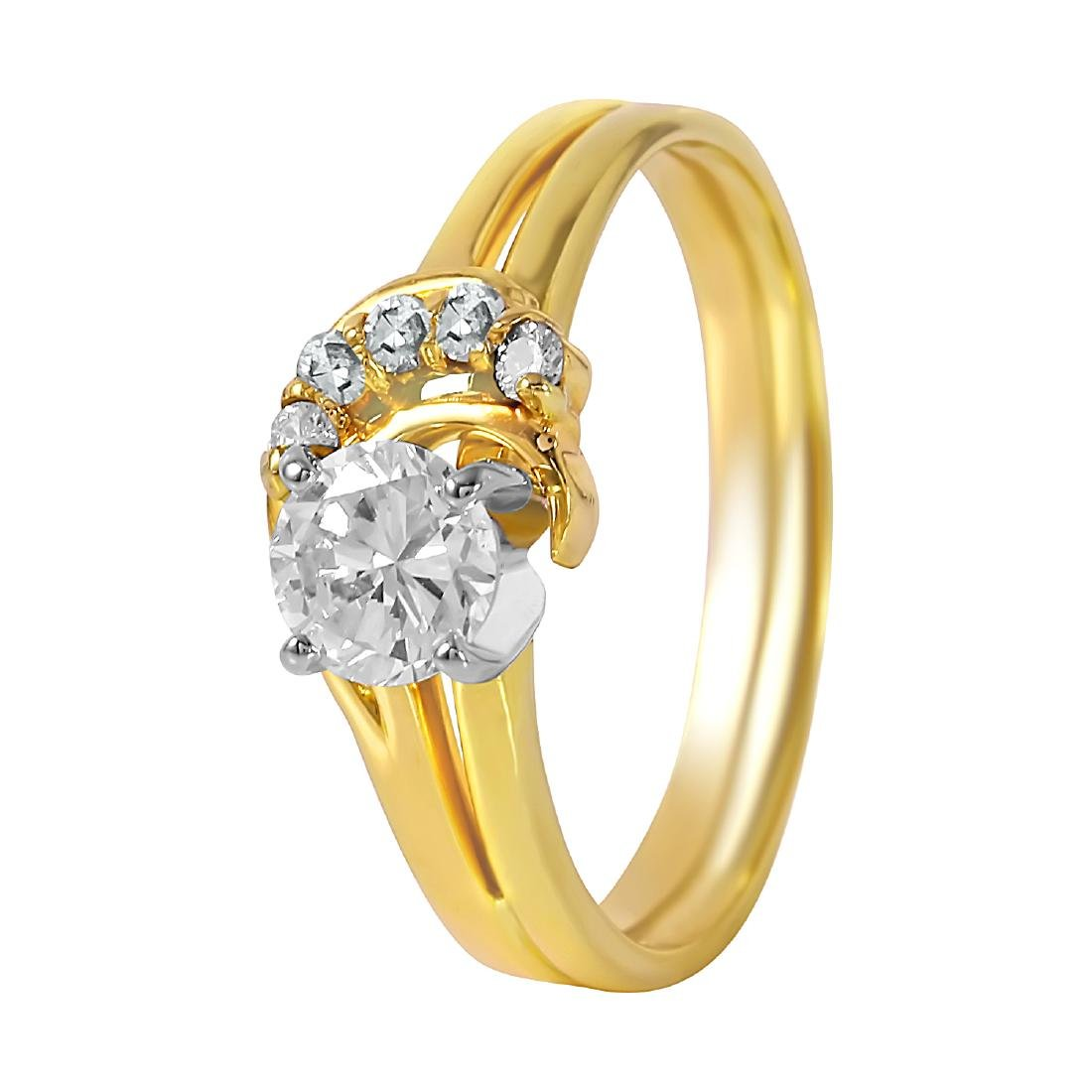 14KT Yellow Gold 0.55ctw Diamond Engagement Ring Size