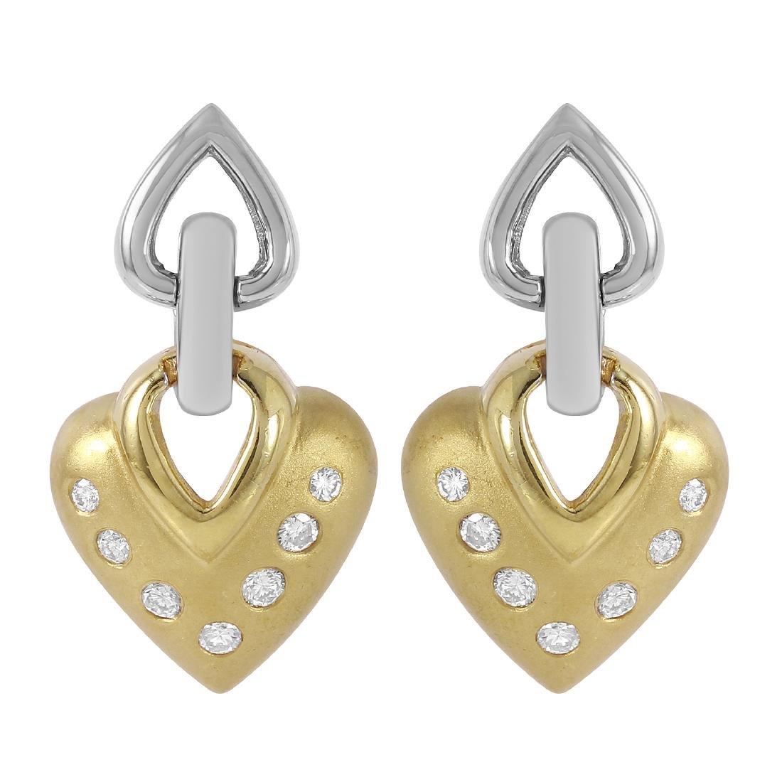 14KT Two Tone Gold 0.50ctw Diamond Earrings L196